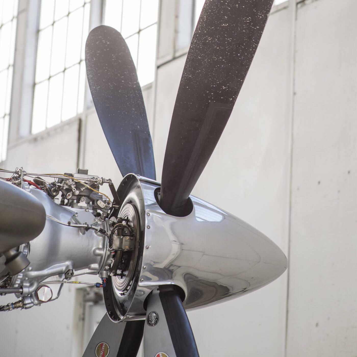 A closeup of an airplane propeller.