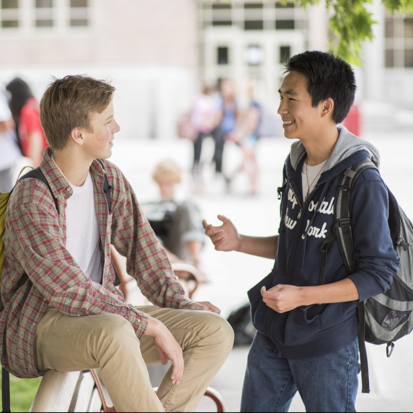 Two students chatting at a university