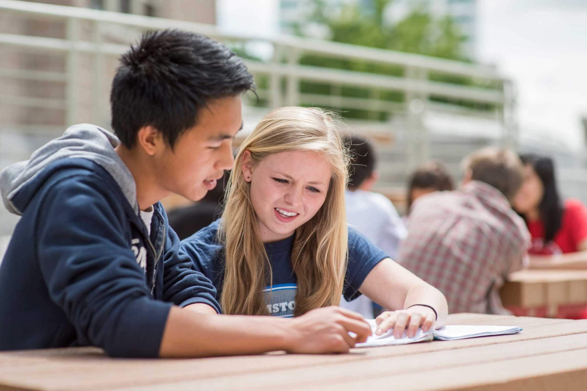 Two students sitting at a picnic table looking at a notebook together.
